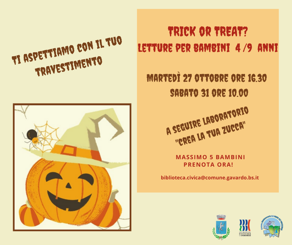 TRICK OR TREAT - Letture in biblioteca per Halloween